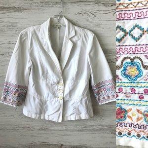 J. JILL Linen Blend Floral Embroidered Jacket 4P